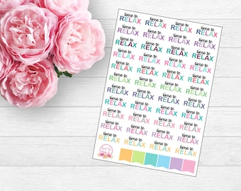 Time to Relax Planner Stickers (F46)
