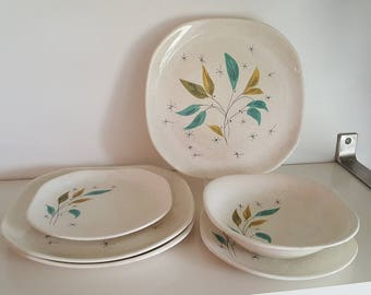 Atomic Age Dishware - 1950s Sovereign Potters Vogue - Mid Century Modern Plates and Bowl - Viktor Schreckengost - 1274-55