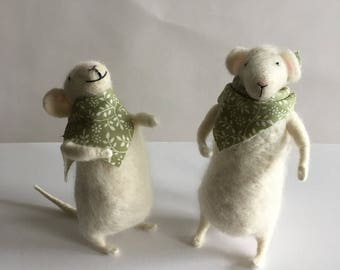 Handmade Needle Felted Mice - Couple.
