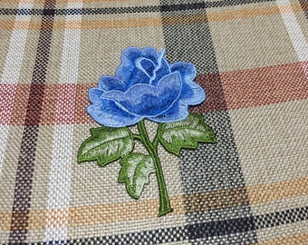 Embroidered Floral Patch, Blue Flower Applique