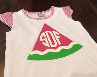 Watermelon Monogram Design on Pink Gingham Flutter Sleeve T-Shirt