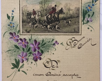 Antique French Card Beautifully handwritten in cursive letters * Early 20th century rare postcard * Thinking of you