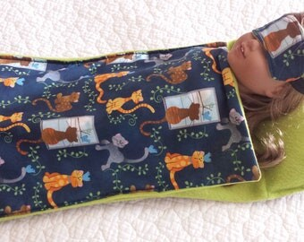 "Handmade 2 Pc Sleeping bag with sleep mask for American girl doll or any 18"" dolls"