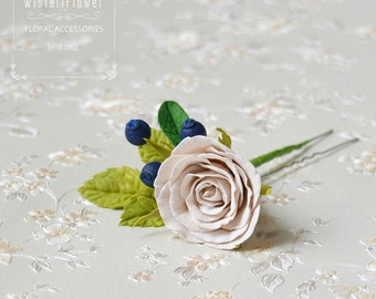 Floral Hair pin Flower Pastel wedding headpiece Bohemian wedding accessories Berry Rose Spring wedding Gift for her Cream wedding Romantic