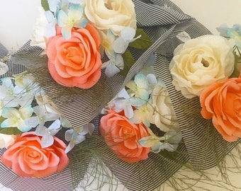 MOTHER'S DAY Apricot & Azure Paper Flower Bouquet