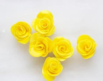 Yellow Fondant Roses, Edible Cupcake Toppers, Cake Toppers, Wedding Cake, Birthdays