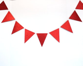 Red Pennant Flag Garland- Christmas Photo Backdrop, Bachelorette Party Decorations, Wedding Bunting Banner, Bridal Shower Flags, Photo Booth