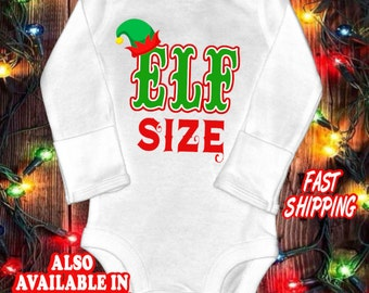 Funny Christmas Baby one-piece bodysuit shirt - Elf size