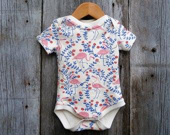 Flamingo baby bodysuit, Organic baby bodysuit, similar to onesie, baby girl gift,Florida baby,Organic bodysuit,baby shower gift,newborn girl