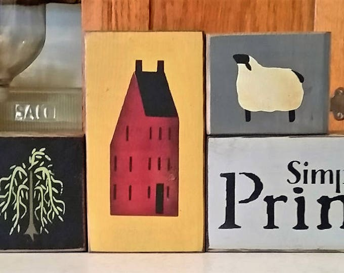 Primitive Simply Prim Wood Block Sign