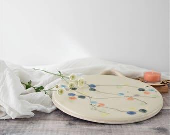 Multi-function ceramic platter - handmade stoneware pottery