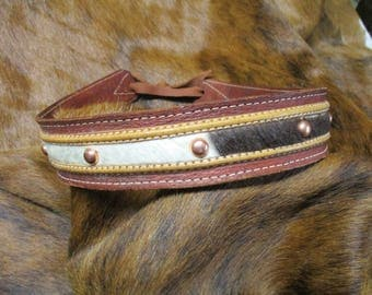 Cowboy Hat Band, SASS Hat Band, Vintage Hat Band, Re-enactor Hat Band, Cowgirl Hat Band, Brown Leather Two Toned Hat Band with real Cowhide.