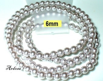 1 strand 82cm = 152 glass beads 6 mm-Silver (806.26.1)