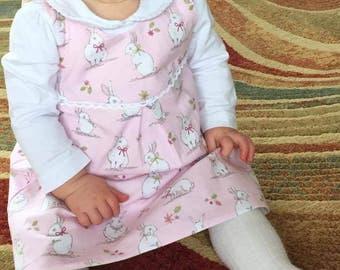 Girls cute bunny dress, girls cute bunny pinafore dress, girls Easter Dress, girls Spring dress, pink bunny dress, green bunny dress
