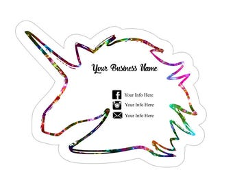 Unicorn Business Cards, Unicorn Card, Colorful Business Cards, Custom Business Cards, Rainbow Business Cards, 50QTY