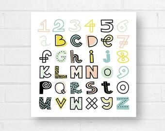 123 Canvas Art Print, ABC Canvas Art Print, Alphabet Print