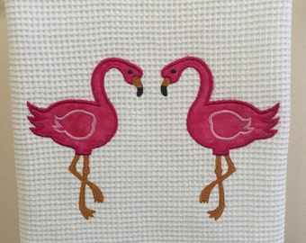 Flamingo applique towel