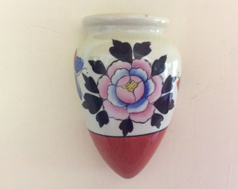 Vintage Wall Pocket Vase, Japan Logo and Marked on Back