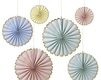Pastel Pinwheel Party Decorations || fan paper rosette unicorn princess theme 1st birthday smash shoot wall covering 452083