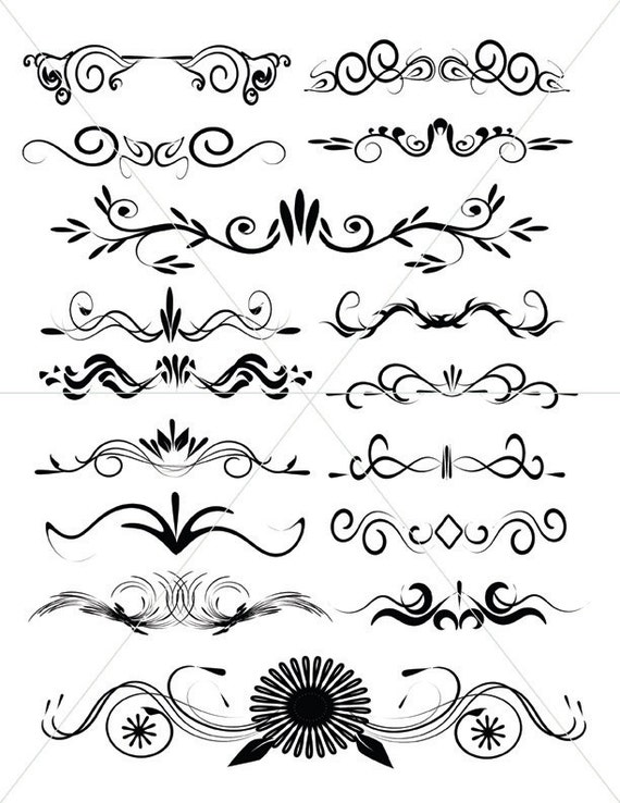 scalabe vector graphics divider lines fancy swirls and