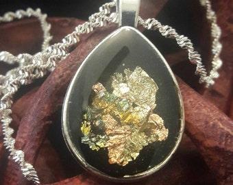 Midnight Shimmer Pendant: Tear drop shape w/ gold & bronze inlay