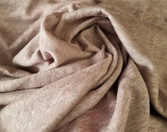 """100%Linen jersey knit Natural fiber """"MINK""""by the yard Eco-friendly 60"""" wide"""