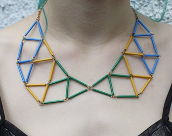 Retro Geometric Necklace, Colourful & Funky Bib Necklace, Yellow/Green/Blue, Statement Necklace