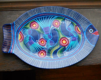 Decorative Platter or wall plaque of red clay