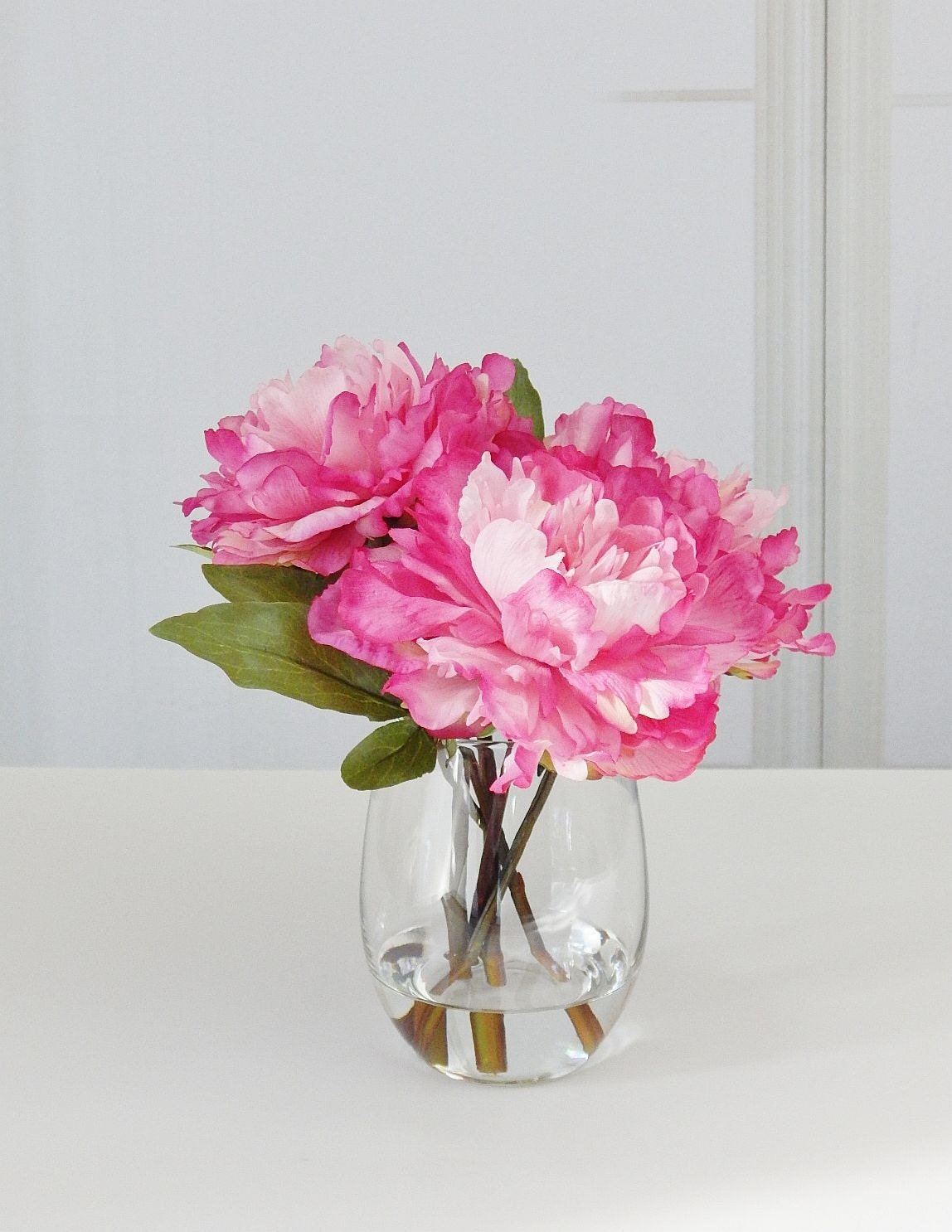 Pinkhot pink silk peonypeonies glass vase faux water gallery photo gallery photo gallery photo reviewsmspy