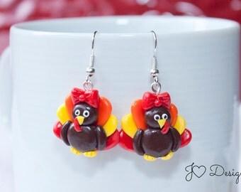 Thanksgiving Earrings, Turkey Earrings, Fall Earrings, Sterling Silver Earrings, Single Charm, Cute Earrings, Clay Earrings