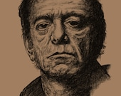Lou Reed: A3 -Print - Hand Drawn Portrait signed by Artist - (Black on Sepia Card or Sepia on Cartridge Paper)