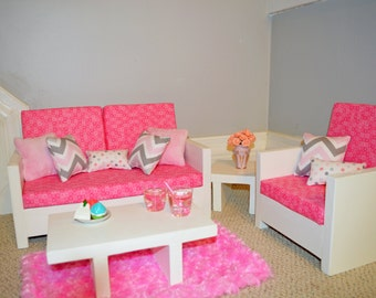"American Girl and other 18"" Doll Furniture. Living Rm.- Julia Set (alternate pillows)"