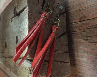 Rusty Red Leather Tassel Earrings