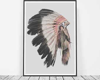 Tribal Print, Native American Headdress Art, Indian Headdress Print, Boho Decor, Navajo Indian, Aztec Indian Art Print, Tribal Art, Bohemian
