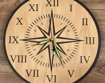 Compass Inspired Wall Clock - Black Lettering on Oak Finish (Inversed Colors Available as Shown Please Inquire)