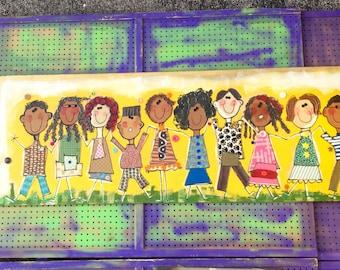 Hand Painted Mural, FREE DOMESTIC SHIPPING, School Mural, Multicultural Children, Mural, Art For Children, 10 Kids, Ten Children