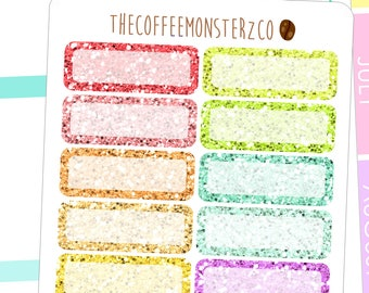 glitter quarter box  - functional planner stickers C045