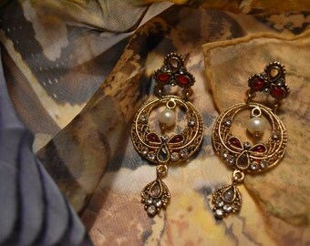 Vintage Style Desi Earrings with Faux Pearl and Ruby Red Coloured Glass