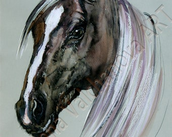 Horse,  PRINT of my original Pen and Ink Art,  HORSE art print - horse painting, , horse wall art, horse decor, horse lover gift