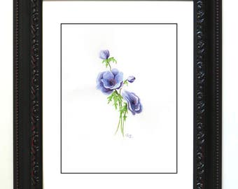 blue flower, watercolor, painting, simple, living room, kitchen, wall art, wall decor, springtime, fresh cut flowers
