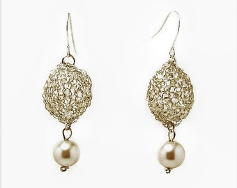 Pearl Dangle Earrings Elegant Silver Plated, Handmade Bridal Earrings, Wire Crochet Earrings