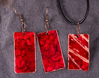 Copper earrings and fold formed copper pendant with red patina