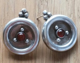 Silver earrings 925 and TBE ethnic vintage carnelian
