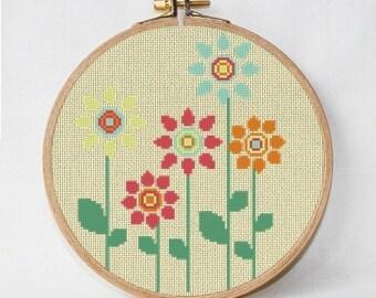 Cross stitch pattern flowers, mid century, retro flowers, PDF pattern, instant download
