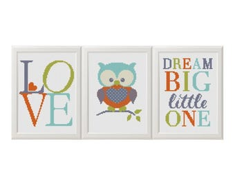 Nursery cross stitch pdf pattern Baby Owl animals set of 3 Dream Big Little One Playroom Decor Modern Cross stitch Wall Art For Kids Room