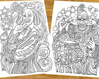 Clowns colouring page