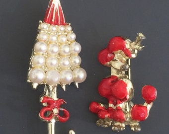 Lovely Vintage 2pc Poodle & Parasol brooches.