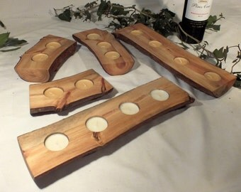 Scots pine tea light holders