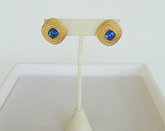 Vintage Golden Blue Swarkovski Earrings
