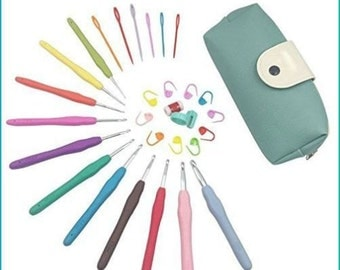 New!! Knitting Needle crochet hook 11 sizes, in pouch , knitting markers
